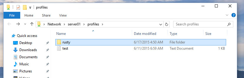 create a roaming profile Folder created